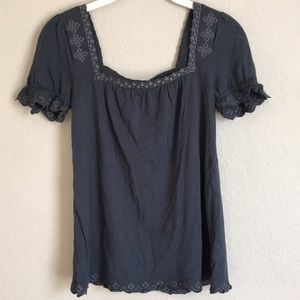 Anthropologie Deletta embroidered Gray Top